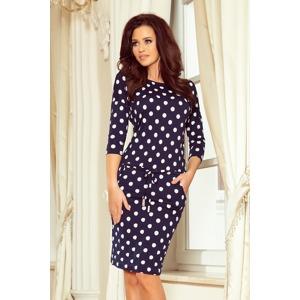 a00a101fbd63 Tmavě modré dámské sportovní puntíkované šaty se zavazováním a s kapsičkami  13-101