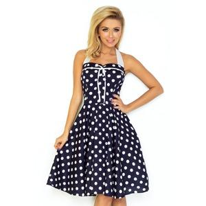 7d53cf20cacc Dámské tmavě modré šaty Rockabilly pin up s bílými puntíky