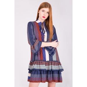 bf2144eba7b0 Tmavá dámská tunika šaty se vzorem