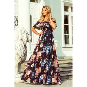 b20d361f8 Dlouhé dámské černé šaty s barevnými květy a španělským výstřihem 194-3