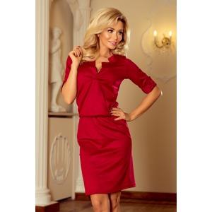cdc53268b224 Dámské šaty v bordó barvě s límečkem 161-9 AGATA