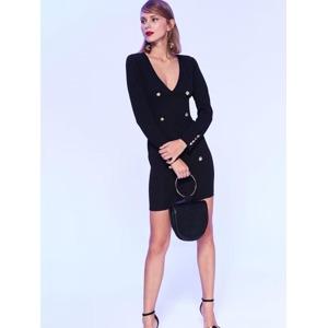 301c4c693a40 Top Secret Šaty dámské černé s řadovými knoflíky