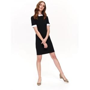 e1a5f180968d Top Secret Šaty dámské černé s límečkem a krátkým rukávem