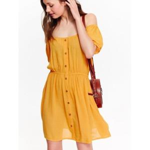 4c4864887e6f Top Secret šaty dámské žluté s knoflíky a odnalenými rameny