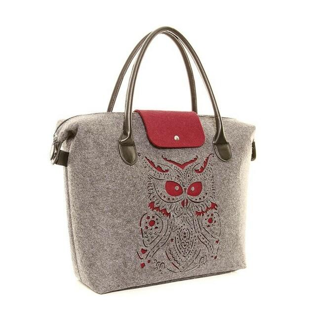 Filcová kabelka Felt Owl - vínová