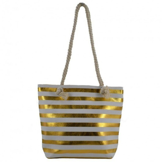 Plážová taška Stripe Beach - bílá / zlatá - zlatá