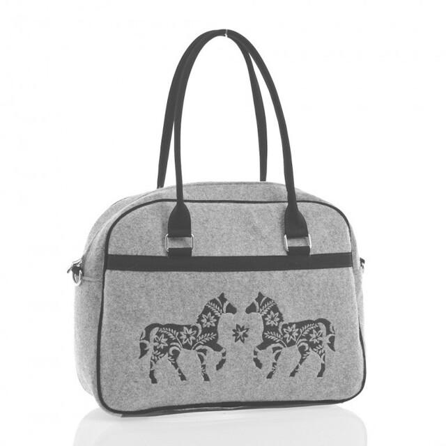 Filcová EKO kabelka Horses - šedá