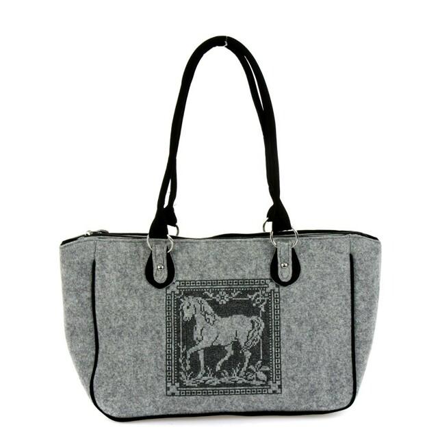 Filcová EKO kabelka Horses II - šedá