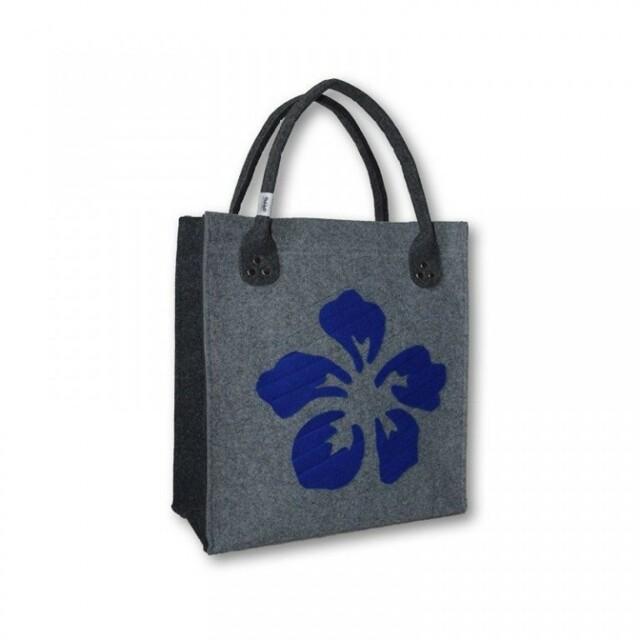 Filcová kabelka Flower - modrá