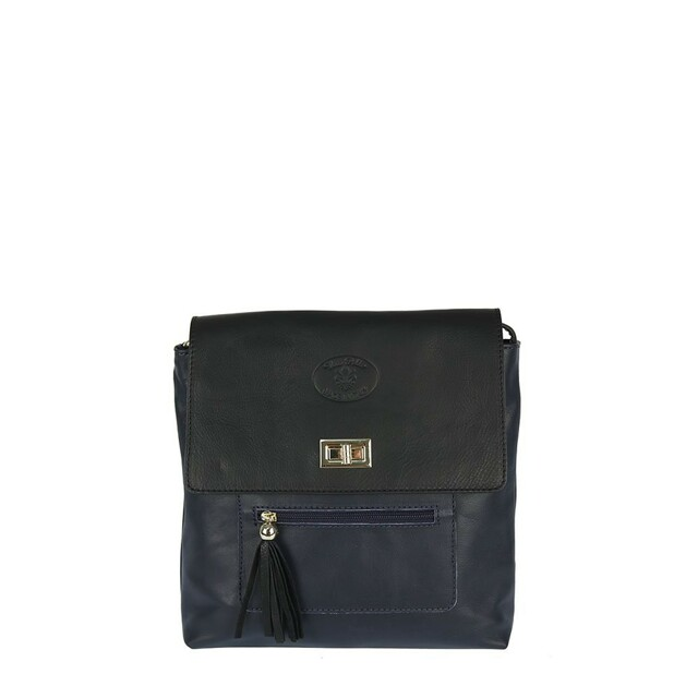 Kabelka Borse Fashion kožená - černá/modrá