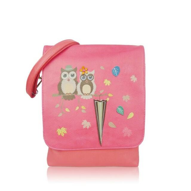Kabelka Owl Love crossbody - fuchsiová