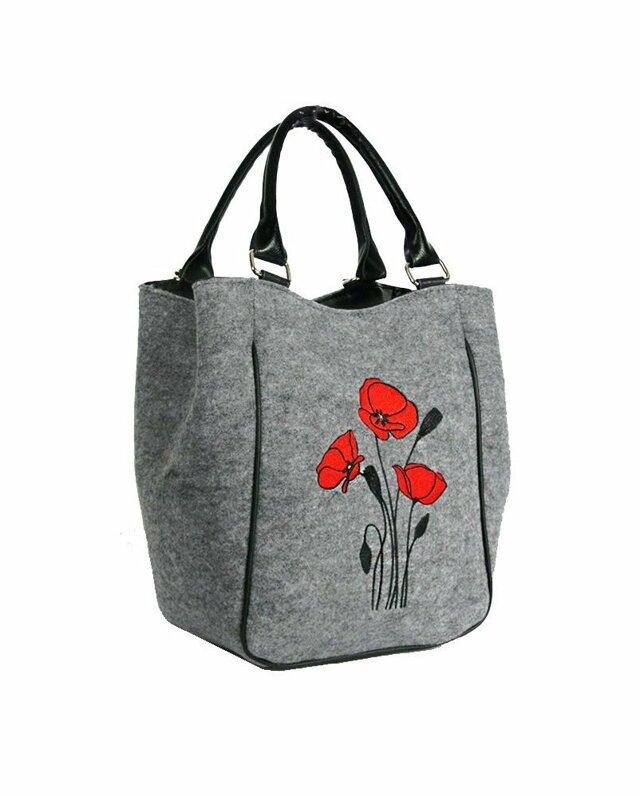Filcová kabelka Wild Red Flowers