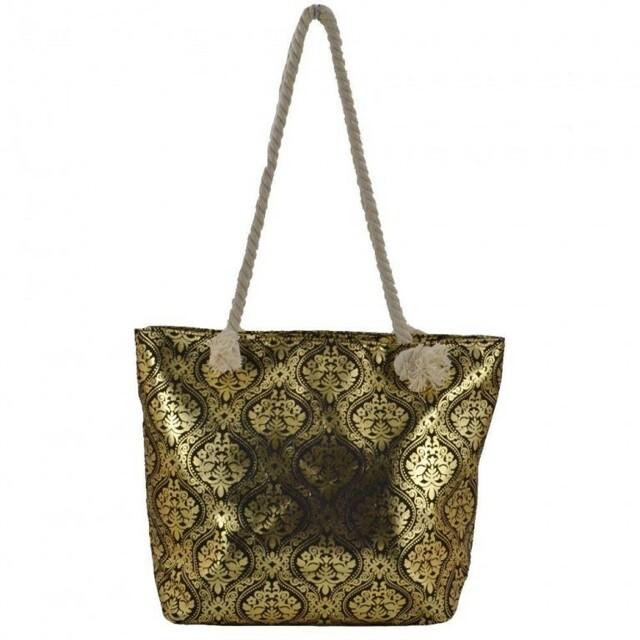 Plážová taška Ornament Beach - černá / zlatá