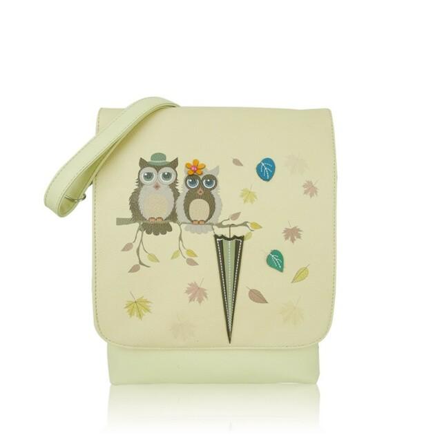Kabelka Owl Love crossbody - světlé