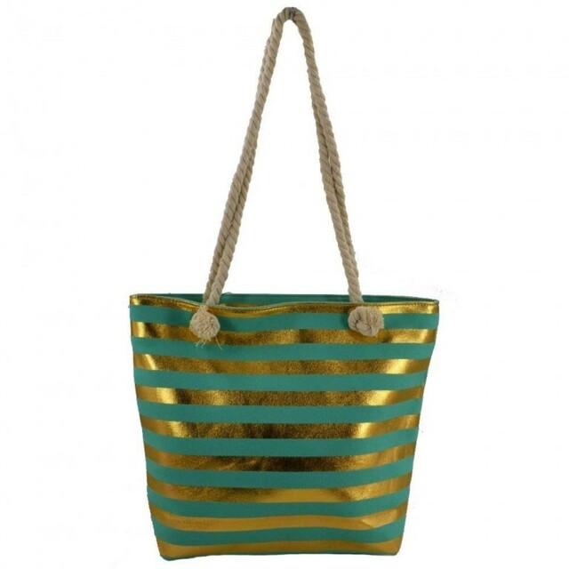 Plážová taška Stripe Beach - zelená / zlatá