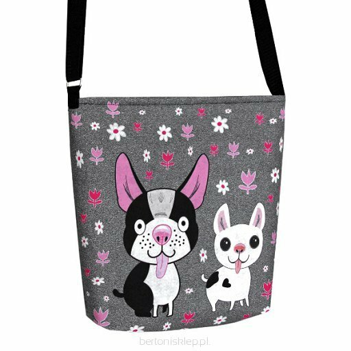 Filcová EKO kabelka Happy Dog - šedá - šedá