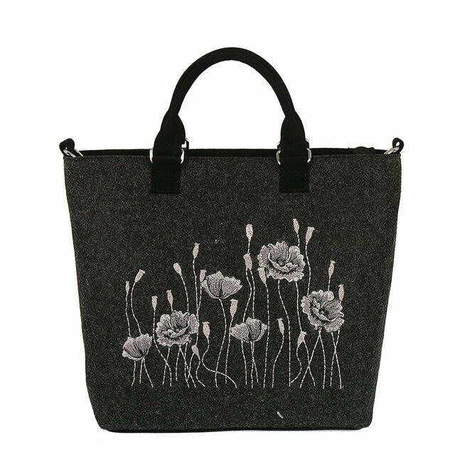 Filcová EKO kabelka Poppys - tmavě šedá