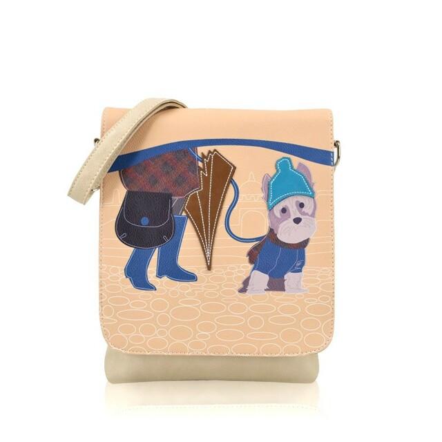 Kabelka Little Dog crossbody - béžové