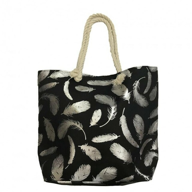 Plážová taška Susi Beach - černá / stříbrná - stříbrná