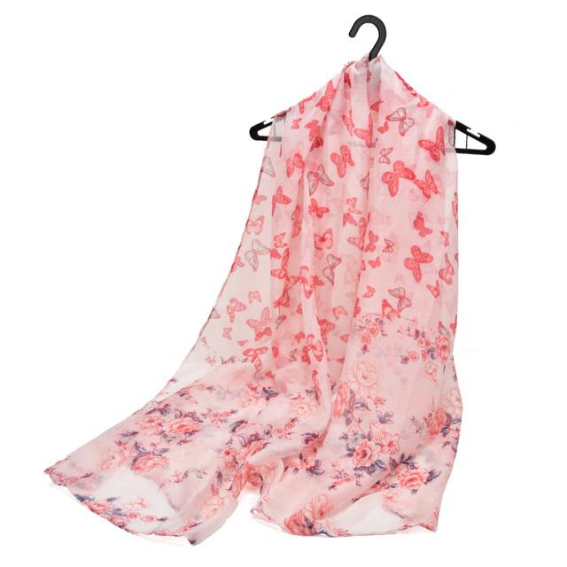 Šátek Butterfly Flowers - růžový