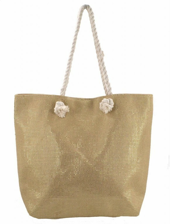 Plážová taška Metallic Beach - béžová / zlatá
