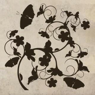 Samolepka na zeď Květiny s motýly 020