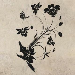 Samolepka na zeď Květiny s motýly 013