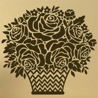 Samolepka na zeď Košík s růžemi 001