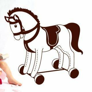 Samolepka na zeď Houpací kůň 001