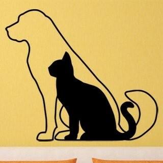 Samolepka na zeď Kočka a pes 0542