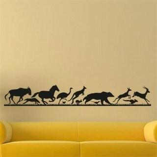 Samolepka na zeď Běžící zvířata 001