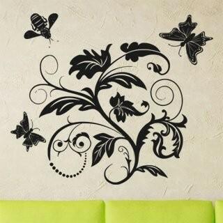 Samolepka na zeď Květiny s motýly 011