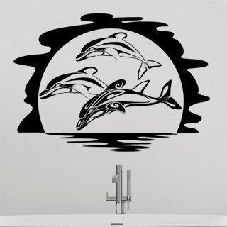 Samolepka na zeď Delfíni 002