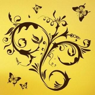 Samolepka na zeď Květiny s motýly 010
