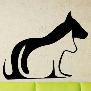 Samolepka na zeď Kočka a pes 0544