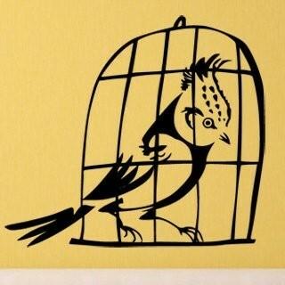 Samolepka na zeď Ptáci v kleci 002