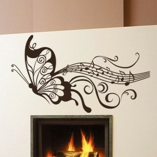 Samolepka na zeď Motýl s notami 001