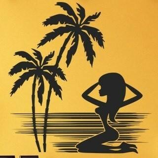 Samolepka na zeď Kráska na pláži 001