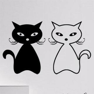 Samolepka na zeď Dvě kočky 0448