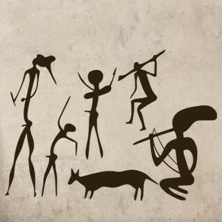 Samolepka na zeď Jeskynní lidé 001