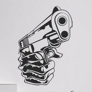 Samolepka na zeď Pistole 001