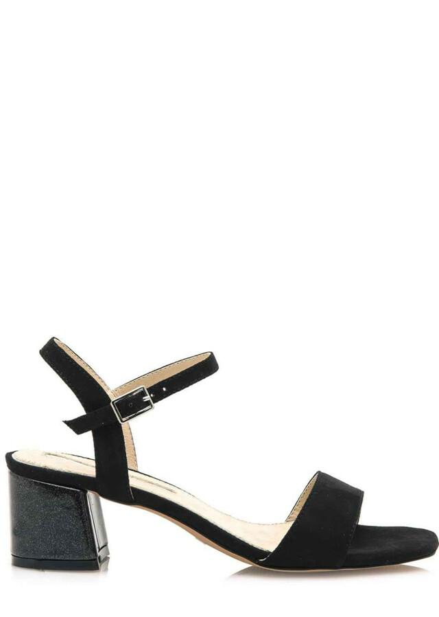 Černé sandály s širokým podpatkem Maria Mare
