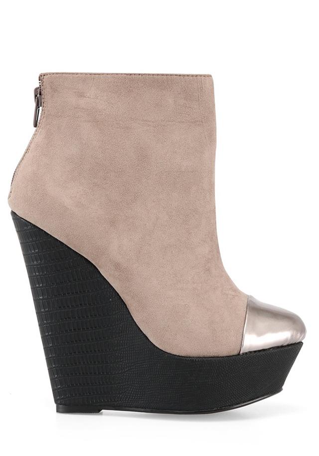 Šedobéžové kotníkové boty na klínku se stříbrnou špičkou Timeless 40 - 40