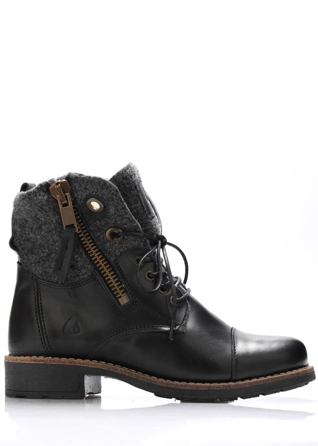 Černé kožené boty s kožíškem Online Shoes