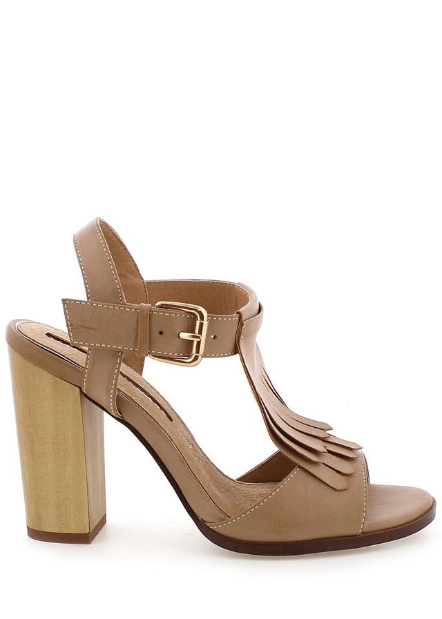 Hnědé sandály s trásněmi na podpatku MARIA MARE