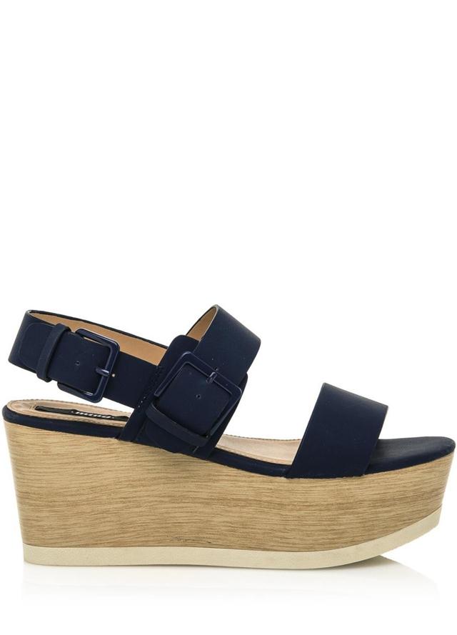 Tmavě modré letní sandály na dřevěné platformě MTNG