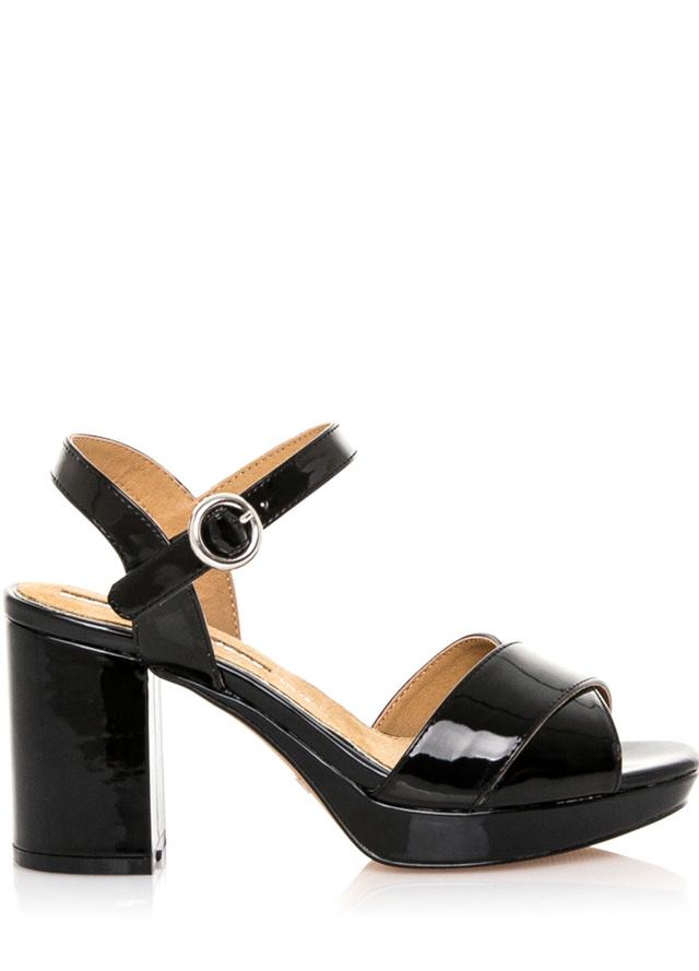Černé lesklé páskové sandály Maria Mare