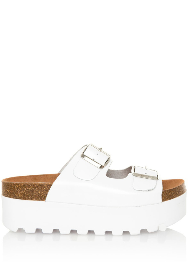 Bílé pantofle na vysoké platformě Sixtyseven