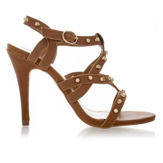 Hnědé sandálky na podpatku Obelia se zlatými cvočky - 41