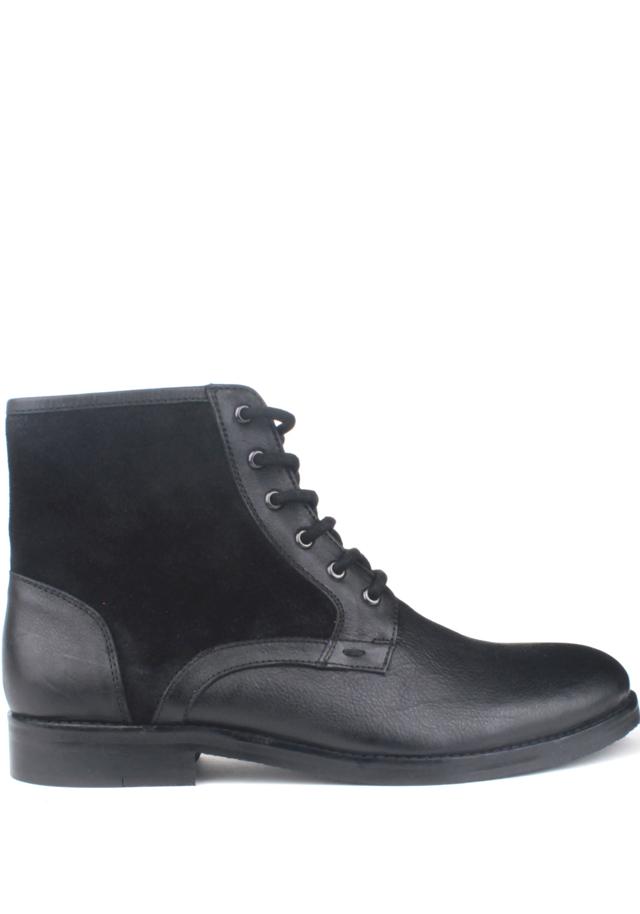 Černé pánské kožené šněrovací boty Paolo Vandini